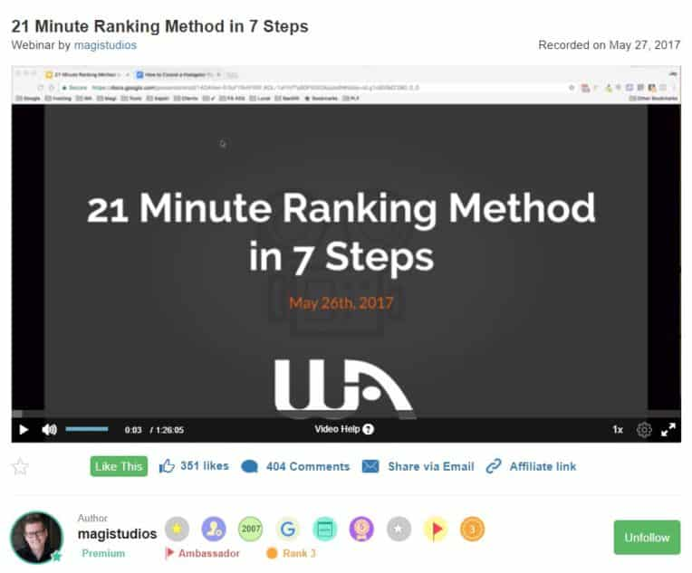 21 minute ranking method
