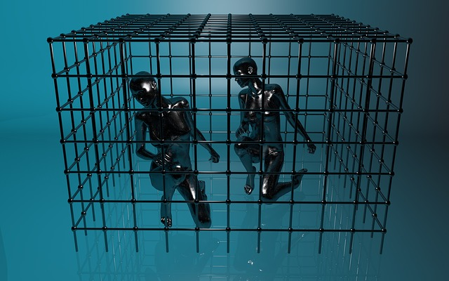 cgi graphig of two people in a cage