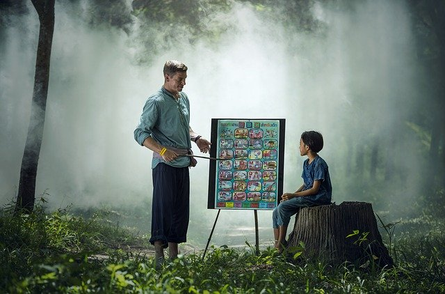 A man teaching a child in a forest